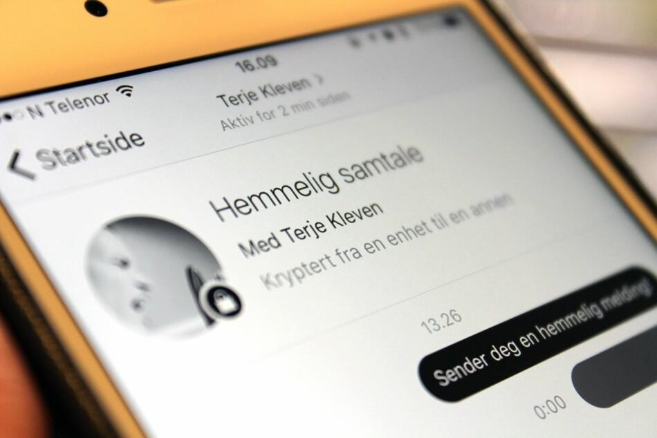 HEMMELIG SAMTALE: Den nye funksjonen i Facebook Messenger skal sørge for at samtalene dine ikke kan overvåkes. Foto: Kirsti Østvang