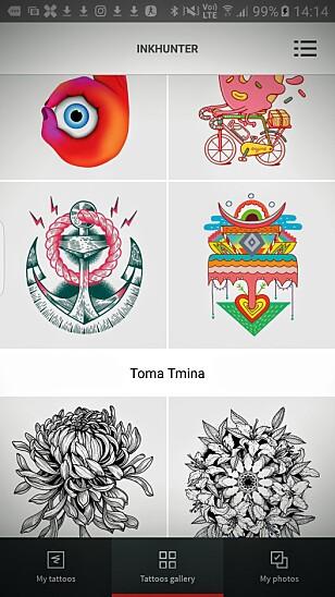 STORT UTVALG: Inkhunter-appen lar deg prøve på flere titalls tatoveringer, og du kan enkelt bruke andre design enn de som følger med. Foto: Pål Joakim Pollen