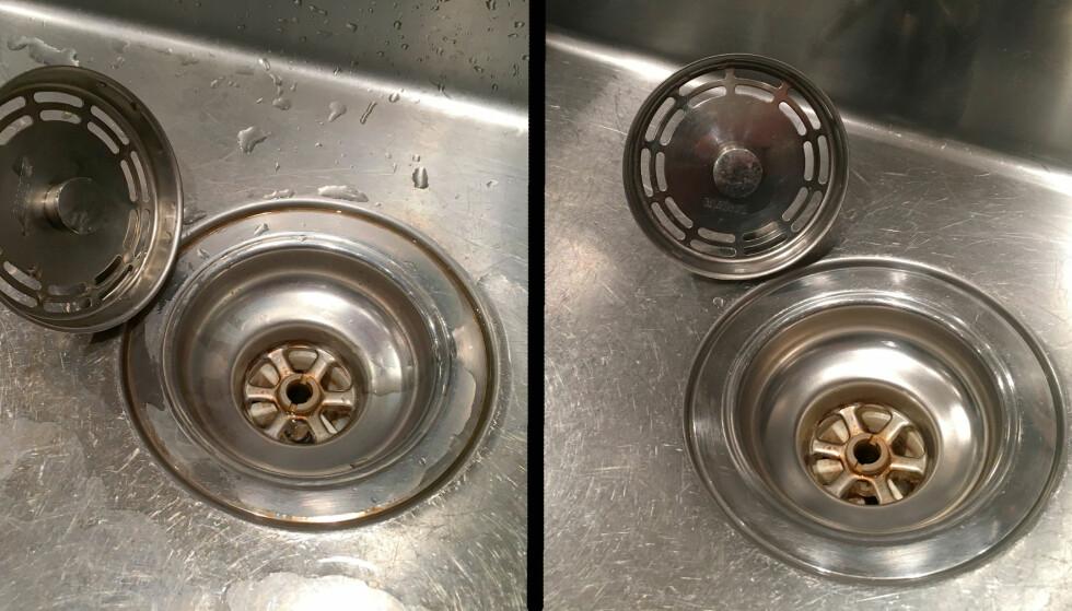 FØR OG ETTER: Før til venstre og etter en natt med klorinvann til høyre. All misfarging rundt avløpet er borte, bare ved at vasken har stått med klorinvann. Misfargingene nede i avløpet er selvsagt ikke borte - da proppen har stått i og vannet ikke har fått virke der. Foto: Kristin Sørdal