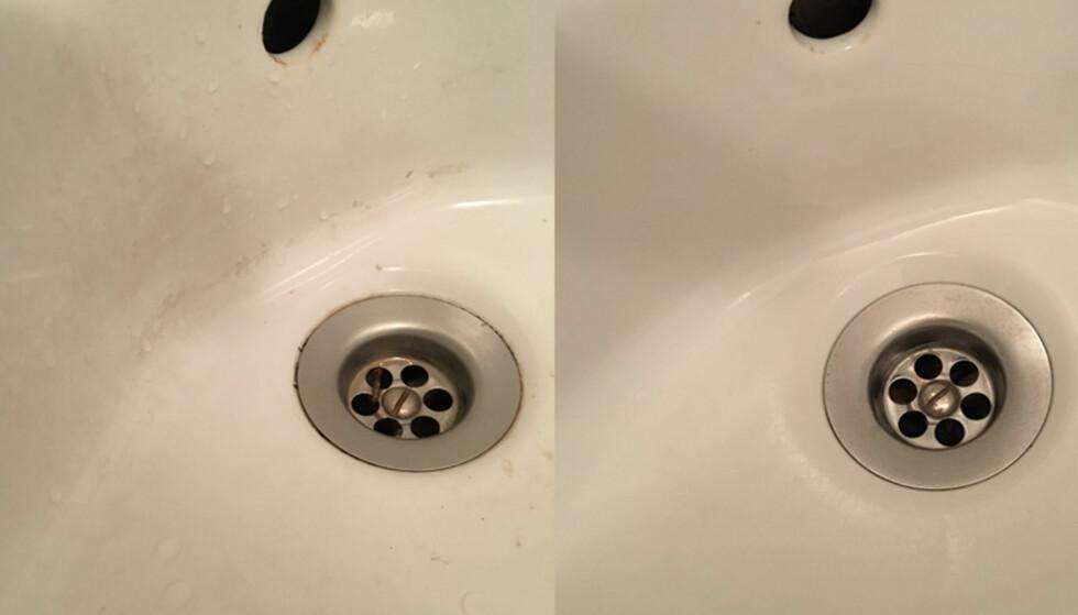 FØR OG ETTER: Belegget som hadde satt seg som en hinne på vasken, ble borte med eddik.