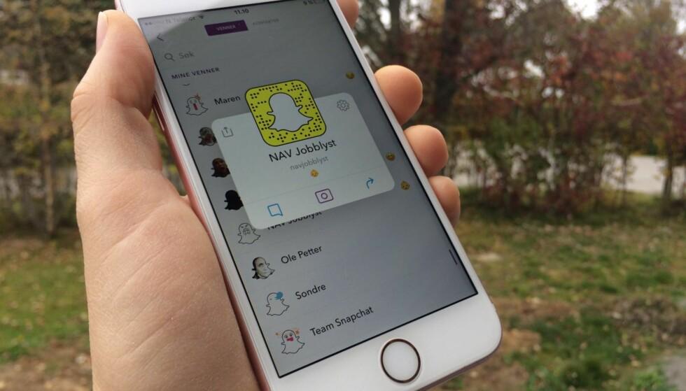 SNAPPE MED NAV: Nå kan du få jobbsøketips via Snapchat.