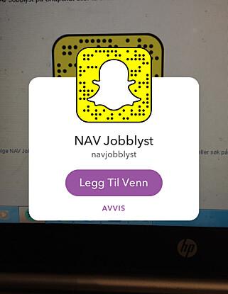 NAV JOBBLYST: Få tips om jobber og andre jobbrelaterte sprøsmål på Snapchat.
