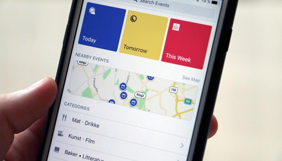 SØK: Du kan også søke opp arrangementer i Events-appen. Det kan kanskje være nyttig når du skal på helgetur til London og vil se om det skjer noe spennende da? Foto: Kirsti Østvang