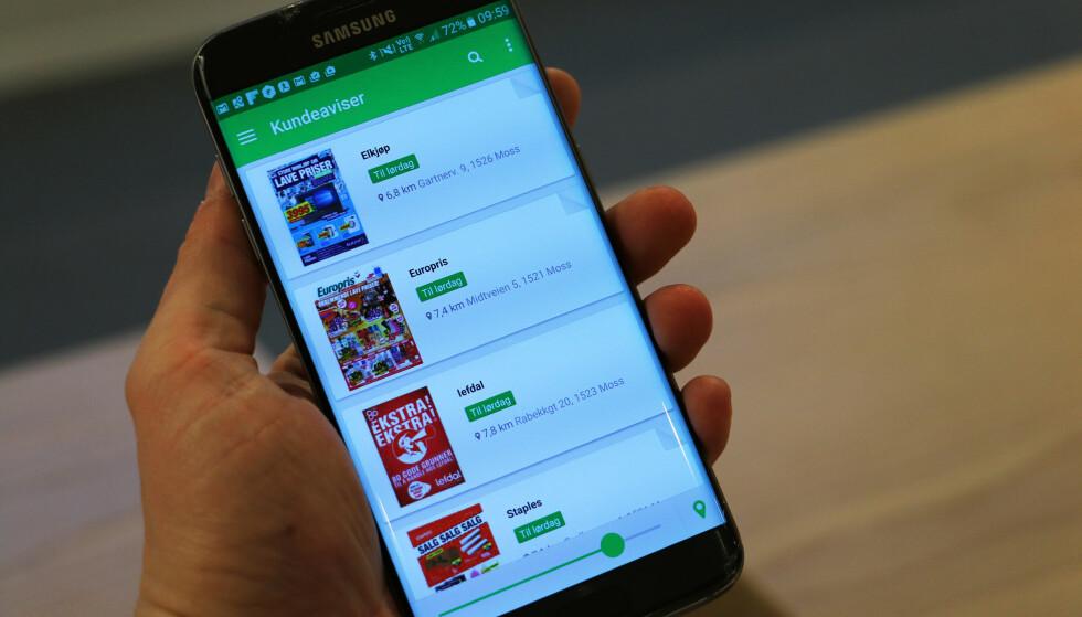 ALT PÅ TELEFONEN: Lei av reklameblekker i postkassa? Shopgun gir deg alle relevante på mobiltelefonen. Foto: Pål Joakim Pollen
