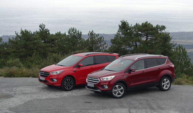 RØDT ELLER RØDT: Her er begge testbilene vi kjørte - ST-Line bensin til venstre, Titanium diesel til høyre. Foto: Knut Moberg