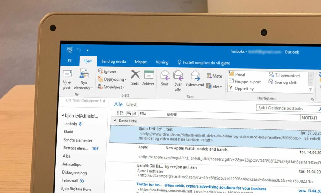 MER OVERSIKTLIG OUTLOOK: Innboksen i Outlook 365 kan fortone seg som rotete. Med små grep kan den bli langt mer oversiktlig. Foto: Bjørn Eirik Loftås