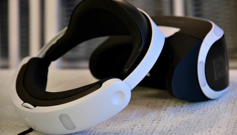 FUTURISTISK: PlayStation VR har kun én bøyle som strammes rundt hodet. Visiret kan du regulere uavhengig for ekstra tilpasning. Foto: Pål Joakim Pollen