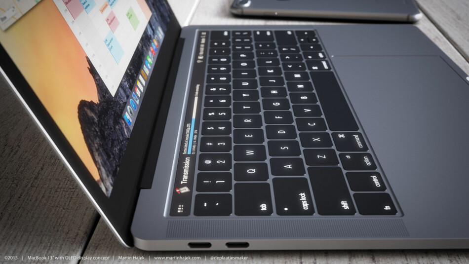 KAN BLI SLIK: Apple forventes å slippe en helt ny MacBook Pro med et berøringspanel over tastaturet som forandrer seg etter hvilket program du er i. Her er et konsept, laget av Martin Hajek.