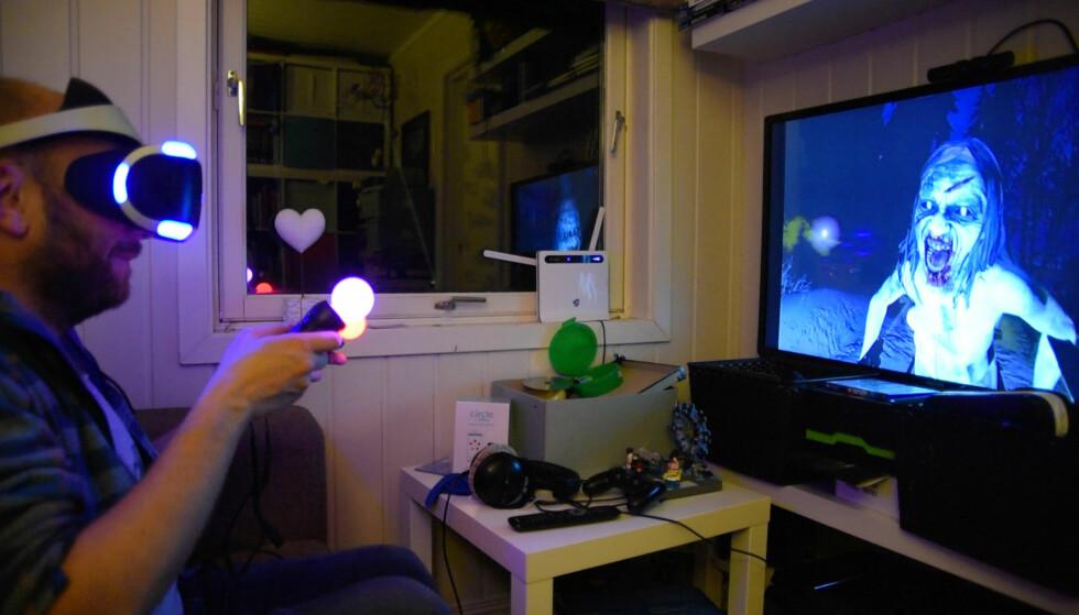 PÅ SKJERMEN: Mens du spiller, kan andre se akkurat det samme som du ser på TV-en. Her er skumle Until Dawn: Rush of blood. Foto: Pål Joakim Pollen