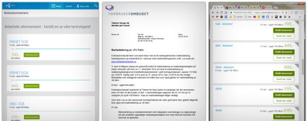 FIKK KJEFT: Først skrev Telenor at fri fart involverte 450 Mbps. Så fikk de et brev fra Forbrukerombudet. Nå står det 100 Mbps. Skjermdump: Ole Petter Baugerød Stokke