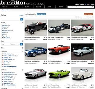 STORT UTVALG: Slik kan det se ut når du sorterer etter veteranbiler til salgs.