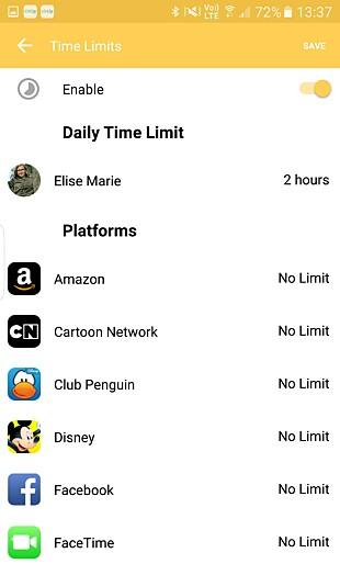 Her kan du angi hvor mye tid som kan brukes totalt, og for hver tjeneste.