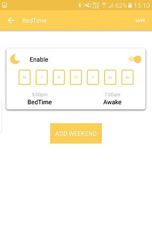 Denne funksjonen lar deg stenge nettet når det er sengetid.