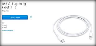 KLØNETE: Lade iPhone fra nye Macbook Pro? 299 kroner, takk. Faksimile: Apple