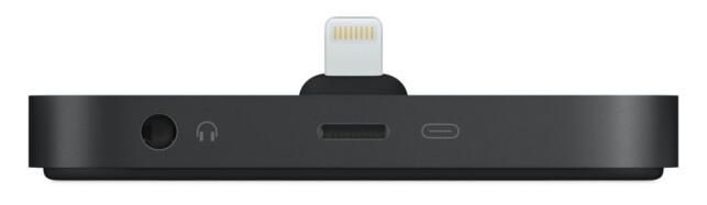 FOR SKRIVEBORDET: Med Apples Lightning-dokkingstasjon får du både strøm og lyd, men den hjelper deg lite når du er ute på farten. Foto: Apple