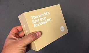 FØRST UT: Verdens første ekte Android PC. Det står det i hvert fall på esken. Foto: Bjørn Eirik Loftås
