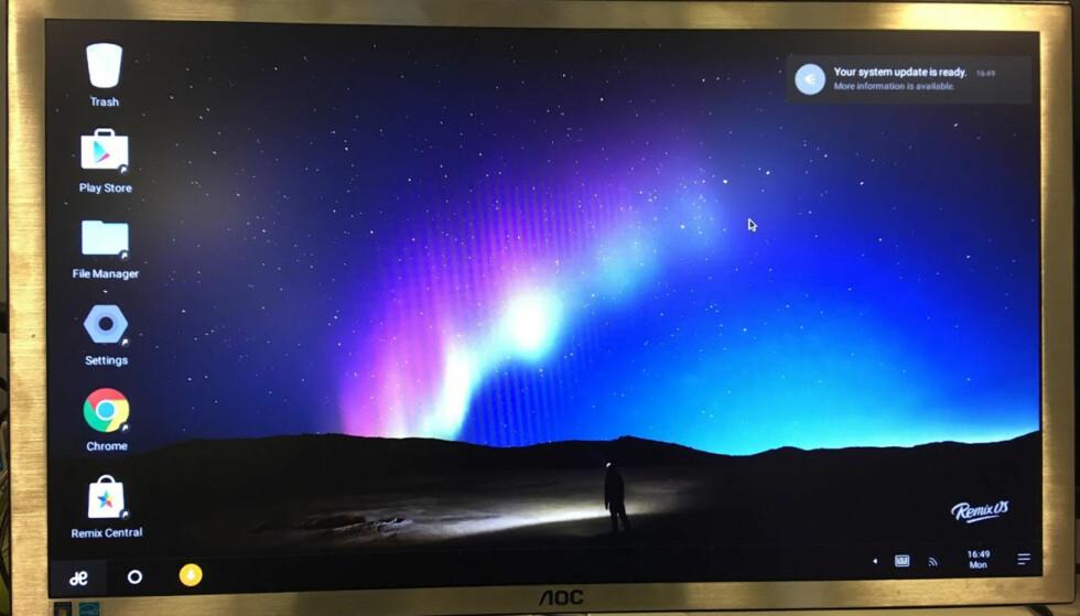 VELKJENT: Brukergrensesnittet i RemixOS er ikke veldig ulikt Windows. Foto: Bjørn Eirik Loftås