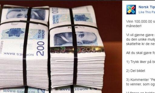 image: Ny falsk Facebook-konkurranse lokker med 100.000 kr i pengepremie fra Norsk Tipping