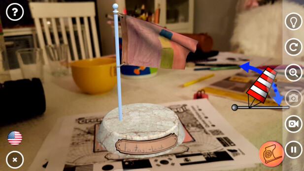 INTERAKTIVT: Noen av tegningene som skannes kan manipuleres med fingeren, for eksempel ved å justere vindstyrken til et flagg. Foto: Pål Joakim Pollen