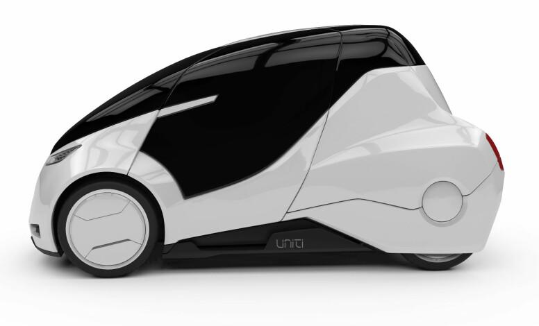 FØRSTE UTKAST: Det ligger an til å bli et rimelig futuristisk designuttrykk dersom denne tidlige prototypen blir mal for det endelige produktet. Foto: Uniti Sweden AB