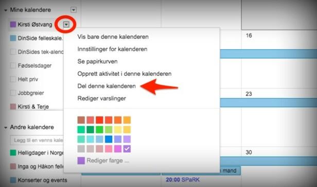 FLERE ALTERNATIVER: En eksisterende kalender deler du på denne måten. Du kan imidlertid også opprette en ny kalender og dele den direkte fra opprettingsskjemaet. Skjermdump: Kirsti Østvang