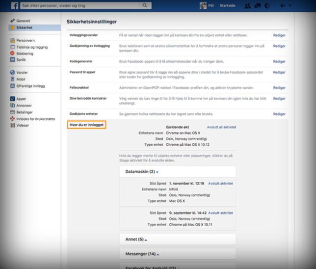På Facebook finner du listen over enheter under sikkerhet og «hvor du er innlogget», som anvist over. Skjermdump: Pål Joakim Pollen