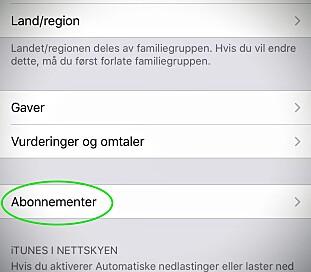 Du kan administrere abonnementer fra iPhone eller iPad i denne menyen. Skjermdump: Pål Joakim Pollen