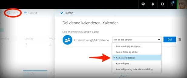 FØR DU DELER: Hos Microsoft kan du angi fem forskjellige type kalenderrettigheter ved deling. Skjermdump: Kirsti Østvang