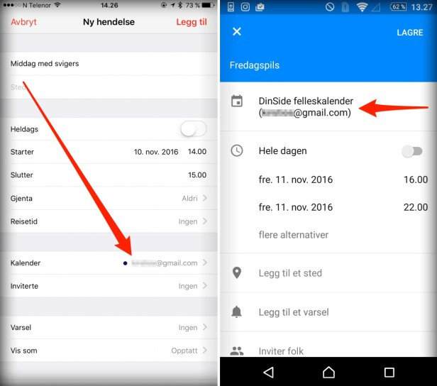 HUSK Å VELGE RIKTIG: Når du oppretter en ny avtale i kalenderen, enten det er på iPhone eller en Android-telefon, velg hvilken kalender du vil lagre den i. Apple og Google gjør det litt forskjellig. Skjermdump: Kirsti Østvang