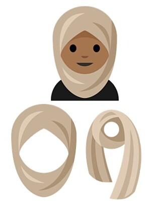 «PERSON MED HODESKJERF»: Slik ser den nye hijabe-emojien, også beskrevet som person med hodeskjerf, ut i Unicode Consortiums forslag. Foto: Unicode Consortium