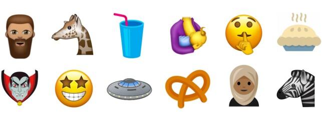 NOEN AV FORSLAGENE: Her kan du se noen av emojiene som kan dukke opp på din mobil mot slutten av 2017. Foto: Emojipedia