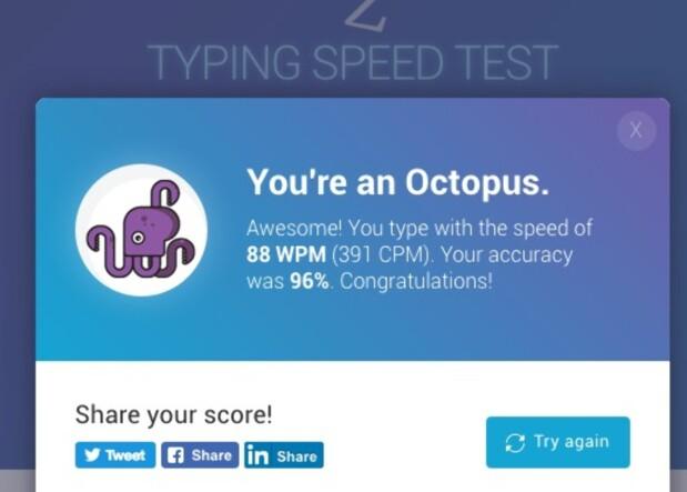 SKRYT I VEI: Når du har gjort ferdig testen, kan du dele resultatet i sosiale medier. Skjermdump: Pål Joakim Pollen