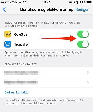 SKRU PÅ HER: Har du installert iOS 10 på din iPhone, kan du nå aktivere anrops-ID via tredjepartsapper. Skjermdump: Kirsti Østvang