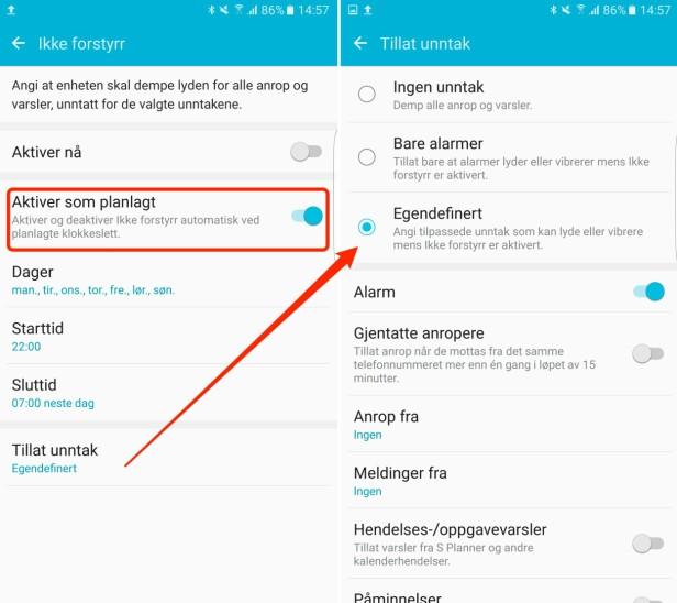 SAMSUNG-INNSTILLINGENE: Du får noen flere valgmuligheter her enn på iPhone. Skjermdump: Kirsti Østvang