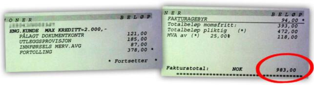 SE SELV: Her er et eksempel fra to år tilbake på hvordan momsen på 87 kroner kan være en liten utgift sammenliknet med gebyrene fraktselskapet tar for å kreve den inn. Foto: Privat