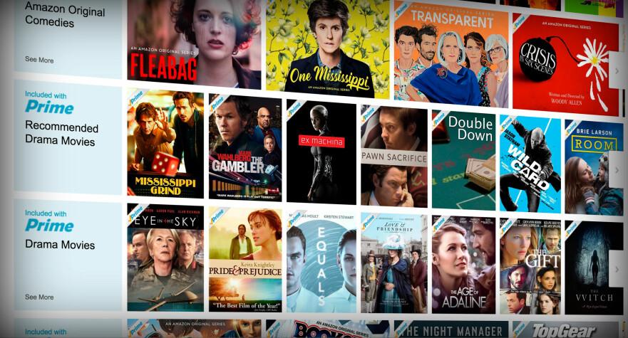 GODT UTVALG: Amazons Netflix-konkurrent, Prime Video, kan være klar for global utrulling. Skjermdump: Pål Joakim Pollen