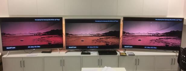 """PÅTAGELIG: Litt avhengig av materialet som spilles, er forskjellene i farger og intensitet temmelig store """"rett ut av esken"""", noe dette bildet bekrefter. Forskjellene er størst på rødt og grønt. Her ser du Samsung til venstre, Philips i midten og Panasonic til høyre. Foto: Bjørn Eirik Loftås"""