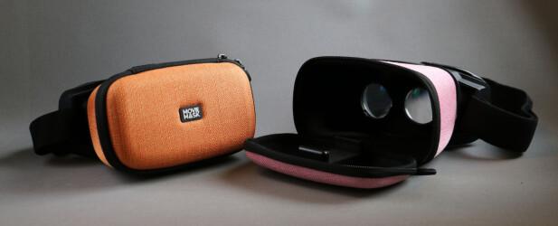 FLERE FARGER: I tillegg til oransje og rosa, finnes MovieMask også i grå, sort og blå utførelse. Foto: Pål Joakim Pollen