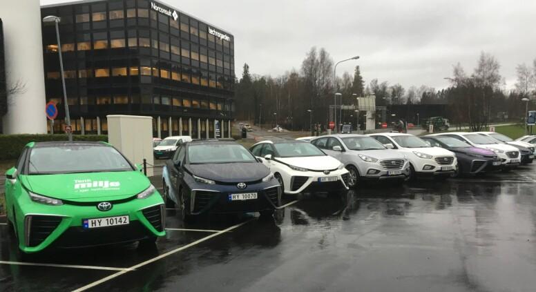BALLER PÅ SEG: Alle bilene på denne rekka ved den nye hydrogenstasjonen i Sandvika er hydrogenbiler. De er i realiteten elektriske biler med medbragt hydrogen som driver brenselceller, i stedet for store batteripakker. Det er Toyotas sedan Mirai og Hyundais SUV ix35 som per i dag er hydrogenbilene som tilbys her i landet, men Honda (Clarity) og Mercedes-Benz (GLC), vil etterhvert komme på banen også - i første omgang. Foto: Knut Moberg