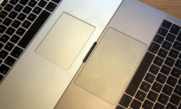 STØRRE: Som du ser på bildet har styreflaten vokst kraftig på nye Macbook Pro kontra forrige generasjon. Foto: Pål Joakim Pollen
