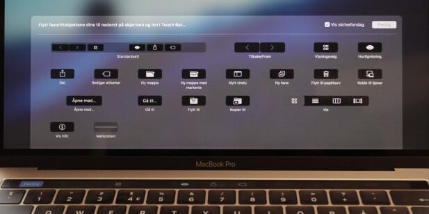 KAN TILPASSES: Hvilke snarveier du vil ha på Touch bar-skjermen, kan du tilpasse i hvert program. Foto: Pål Joakim Pollen