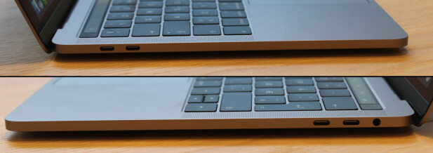 KUN USB-C: Ved siden av lydutgangen er det kun Thunderbolt 3/USB-C-porter å finne på nye Macbook Pro. Det betyr at du trenger overgangskabler til ekstrautstyr som ikke har denne pluggen. Foto: Pål Joakim Pollen