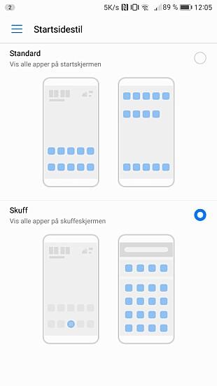 Nå har Huawei endelig fått mulighet for et app-skuff-oppsett. Skjermdump: Pål Joakim Pollen