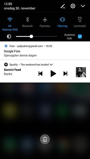 EMUI har generelt blitt litt nærmere den vanlige Android-opplevelsen fra Google, blant annet i varslingsmenyen. Skjermdump: Pål Joakim Pollen
