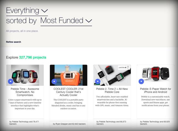 DE STØRSTE SUKSESSENE: Tre av de fire mest innbringene Kickstarter-prosjektene har vært Pebble-produkter. Også andreplassen, The Coolest Cooler, har hatt svært mye problemer. Faksimile: Kickstarter