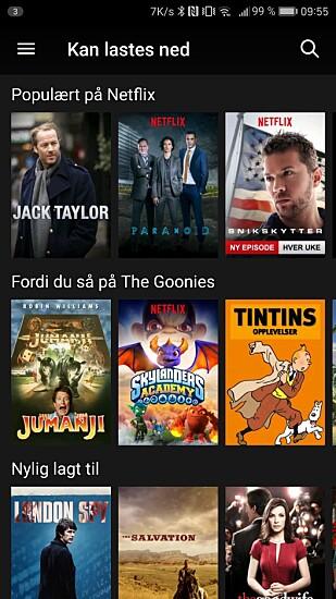 Netflix har en egen seksjon med titler som kan lastes ned.