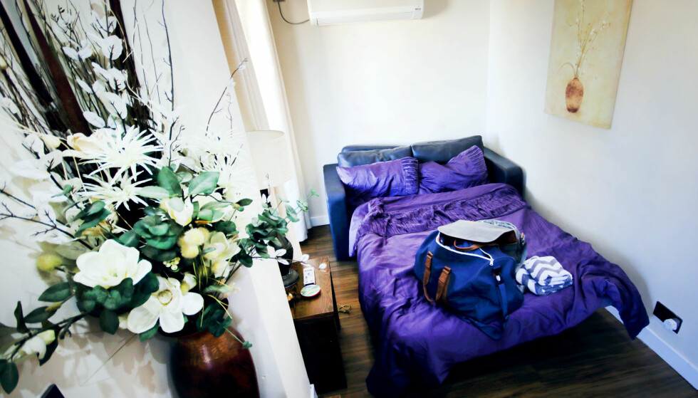 SOVESOFA: Sofa med soveplass på stua, som var redd opp da vi kom. Man sover riktignok bedre i en ordentlig seng. Men så var det jo også halve prisen å bo her, sammenliknet med leilighetshotellet med to soverom. Foto: Ole Petter Baugerød Stokke
