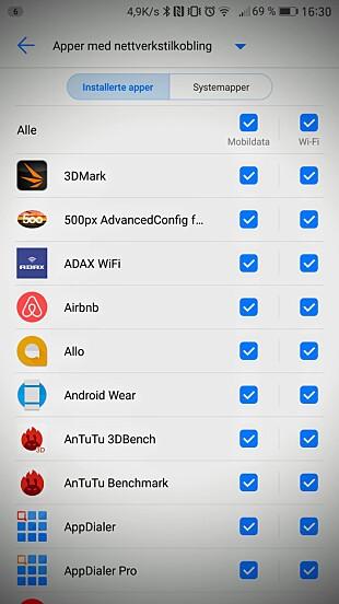 Her kan du velge hvilke apper som skal ha tilgang til internett, henholdsvis over mobildata og WiFi.