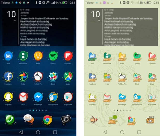 MANGE VARIANTER: Via tema-appen kan du velge og vrake i både bakgrunner, ikoner, låseskjermer og lignende. Skjermdump: Pål Joakim Pollen