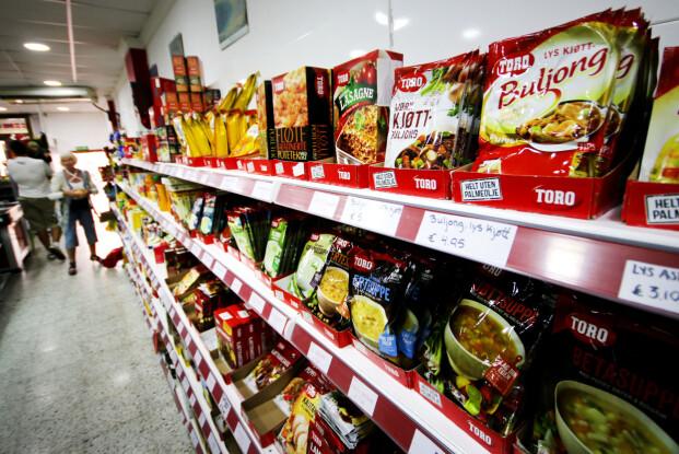 POSEMAT FRA TORO: Dette finner vi i mange spanske butikker: Posemat fra Toro i mange varianter. Foto: Ole Petter Baugerød Stokke
